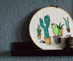 Kaktus Kakteen Sticken Stickbild Stickrahmen-3