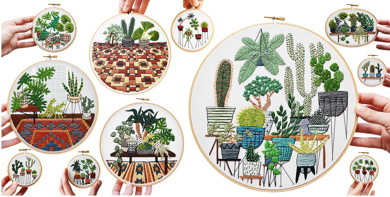 sarah K benning embroidery cactus plants