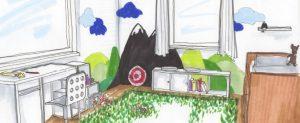 sketch Skizze Zeichnung copic Marker Kinderzimmer Wohnberatung Innenarchitektur Interior Design