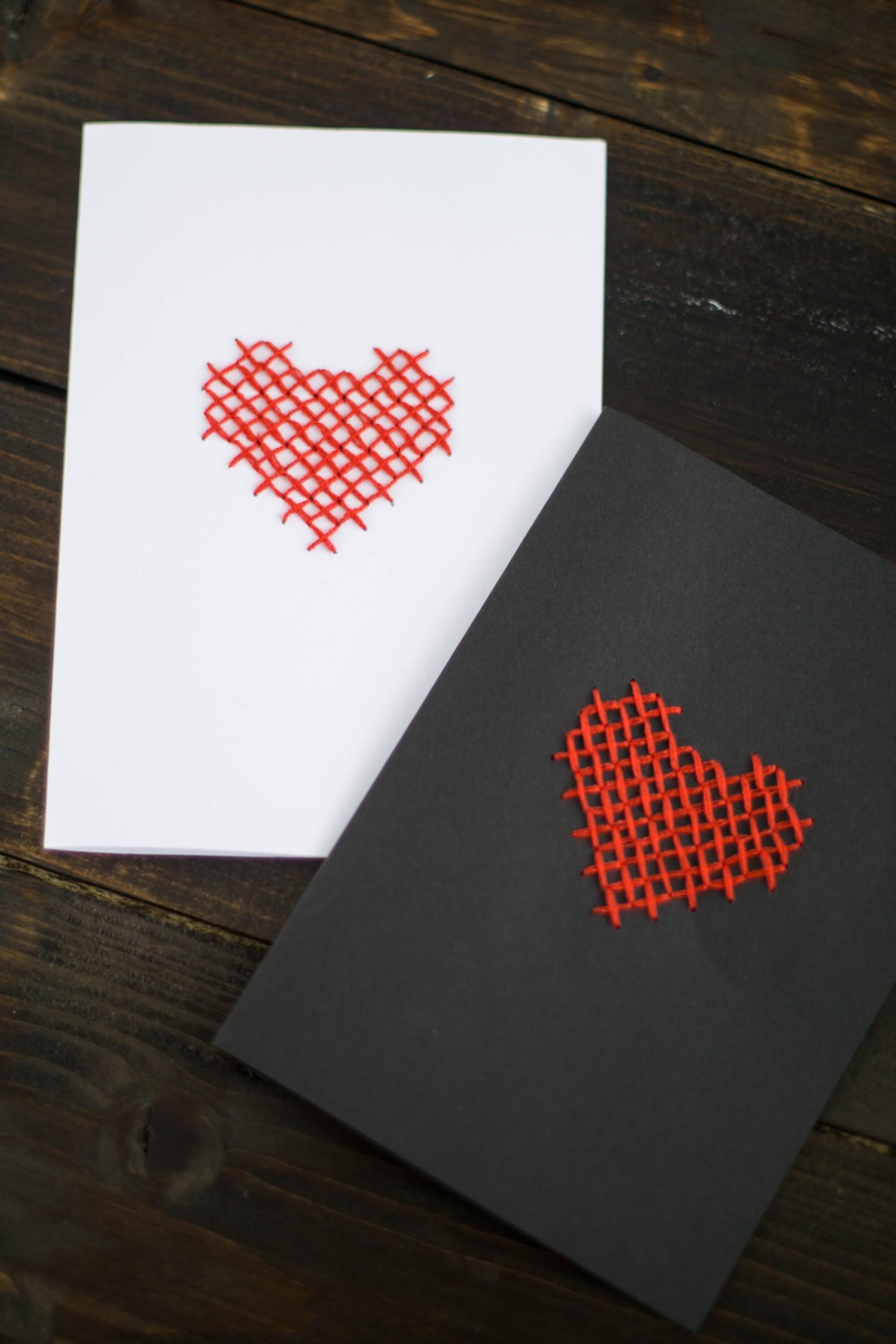 Super DIY Karte Sticken Valentstag Herz-7 - Der Schlüssel zum Glück XH76