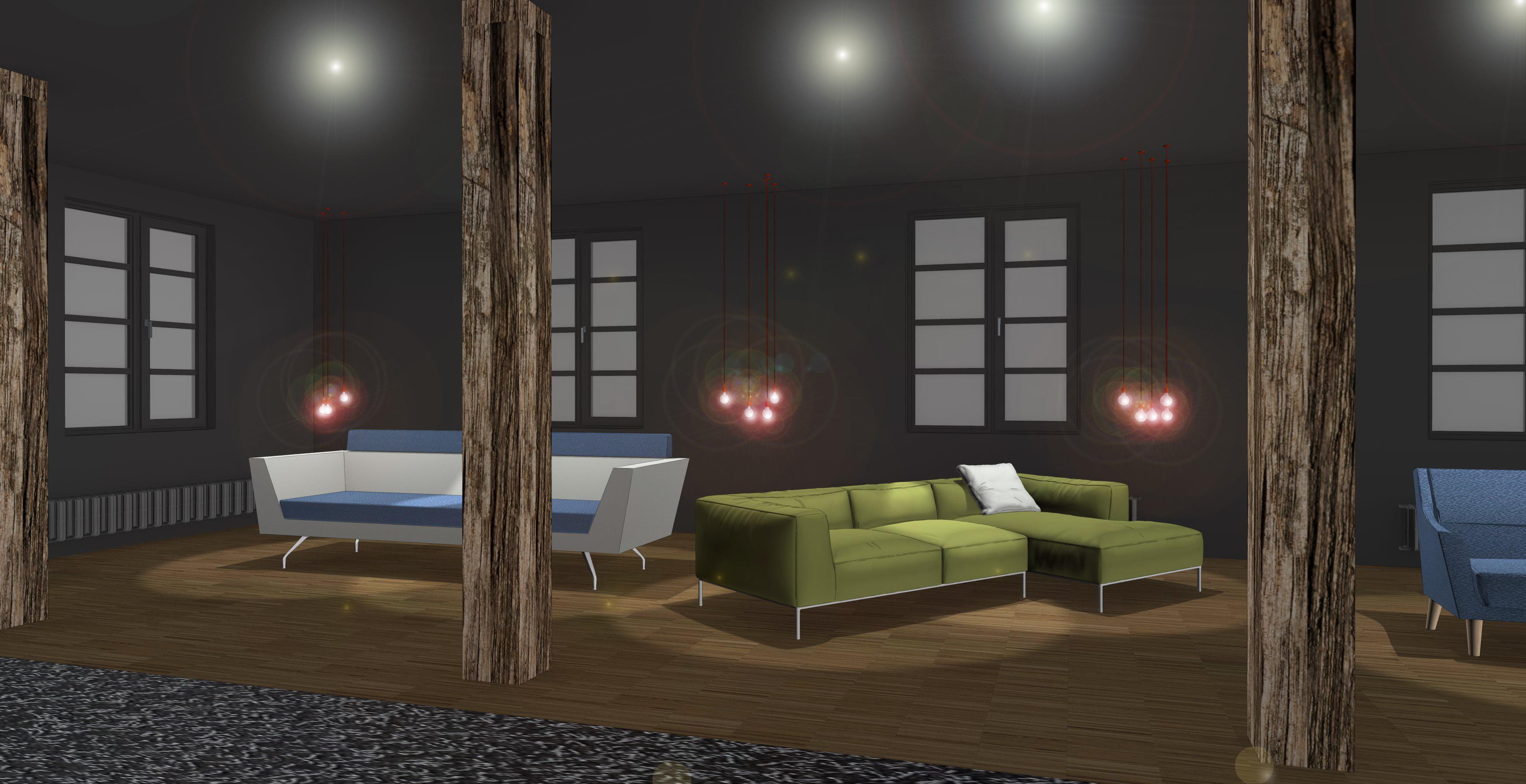 Innenarchitektur Rendering Showroom Dark Dunkel Entwurf