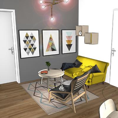 3D Rendering im Skizzenstil, Interior Darstellung