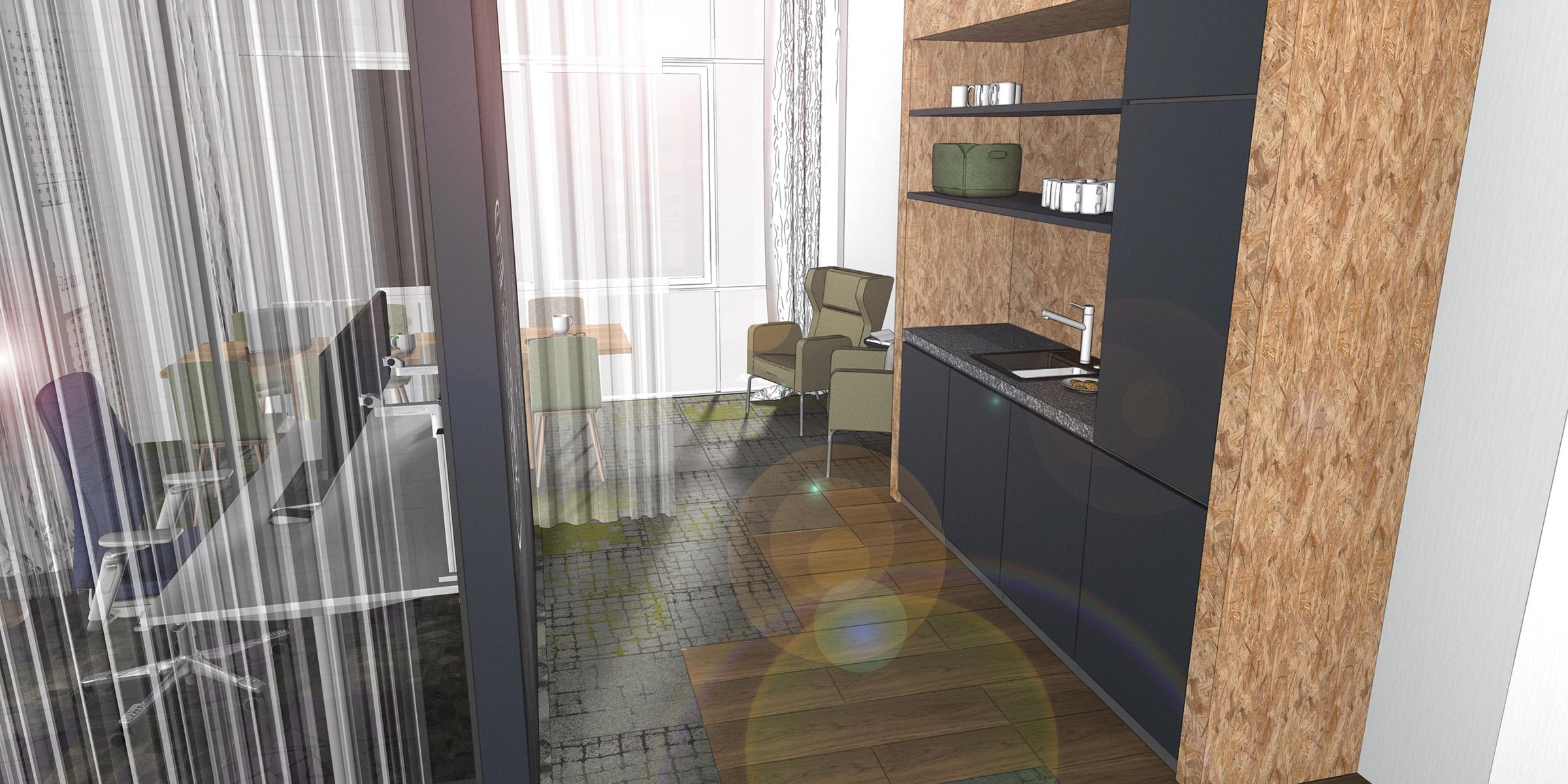 Teeküche in einem Büro, neue Arbeitwelten, Inenanrchitektur 3D Rendering