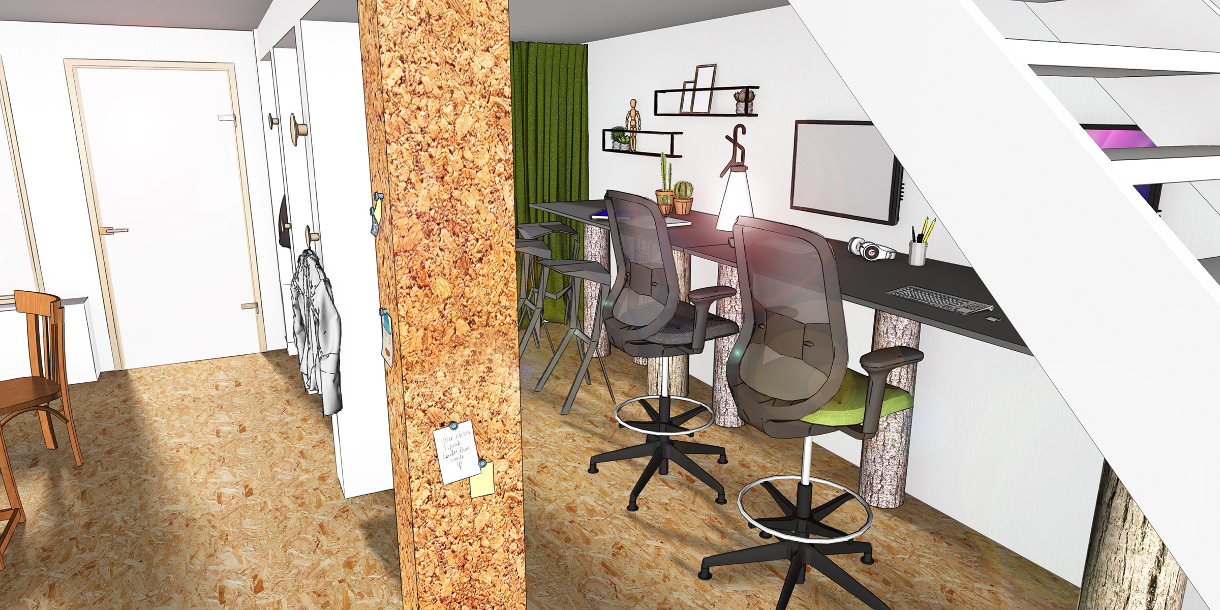 Innenarchitektur Coworking Space Büo Design Entwurf Rendering
