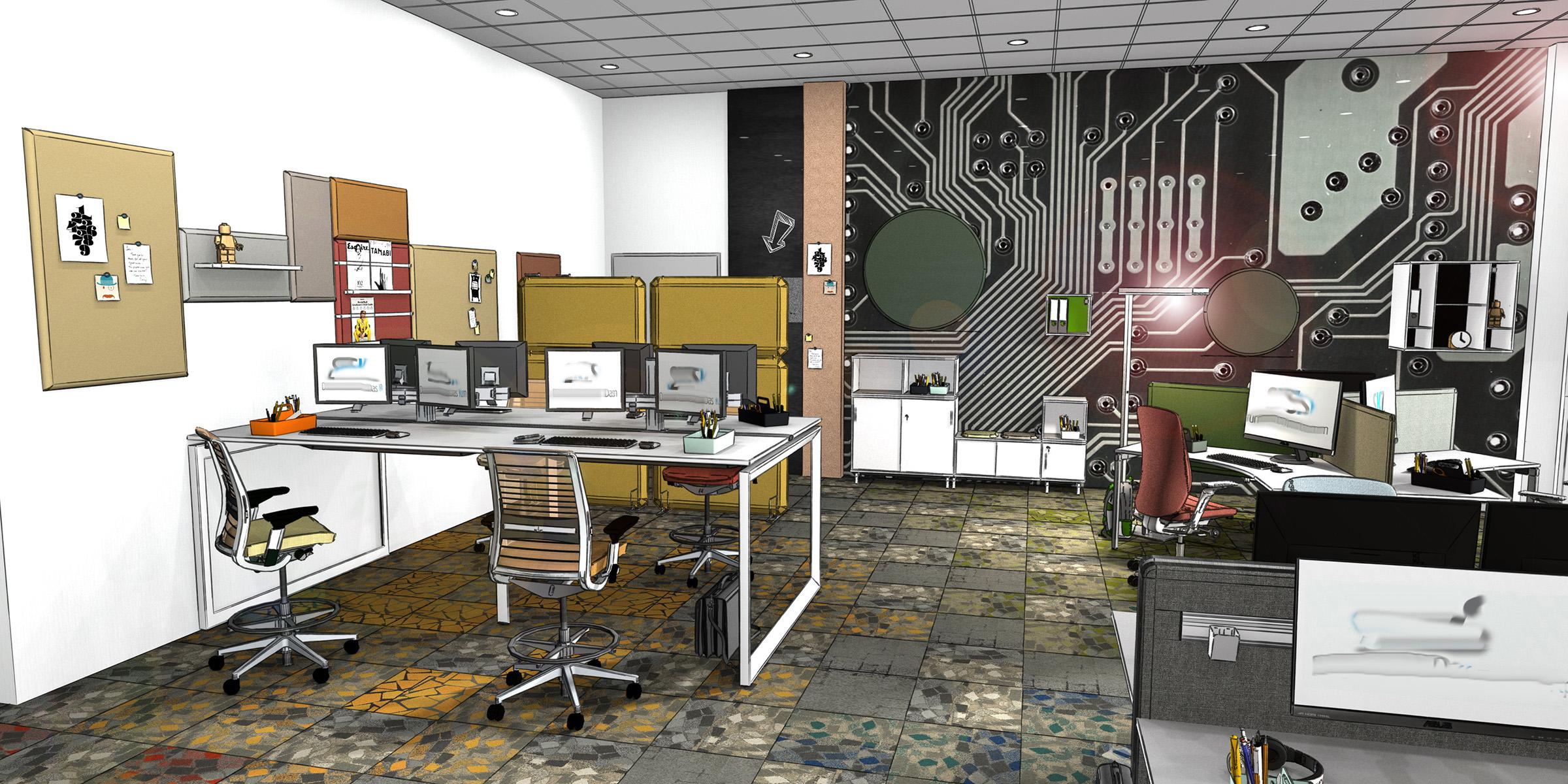 Arbeitsplätze, Schreibtische, Teambench, Teamraum für temporäre Arbeit in einem Büro, neue Arbeitwelten, Inenanrchitektur 3D Rendering