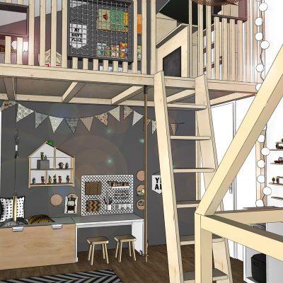 Innenarchitektur Kinderzimmer skandinavisch natur schwarz weiß zweite Ebene modern