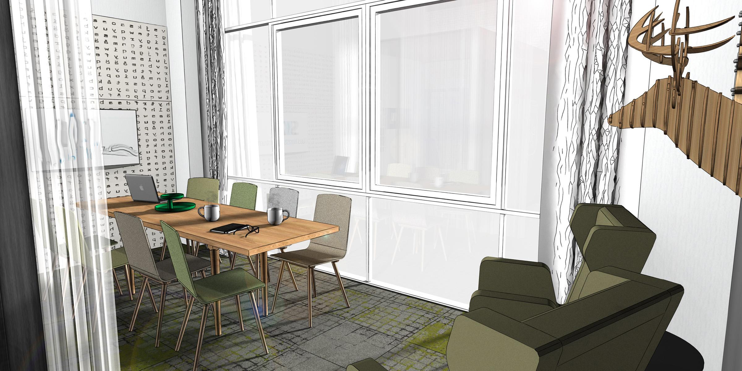 Teambereich der Teeküche, Esstisch in einem Büro, neue Arbeitwelten, Innenanrchitektur 3D Rendering