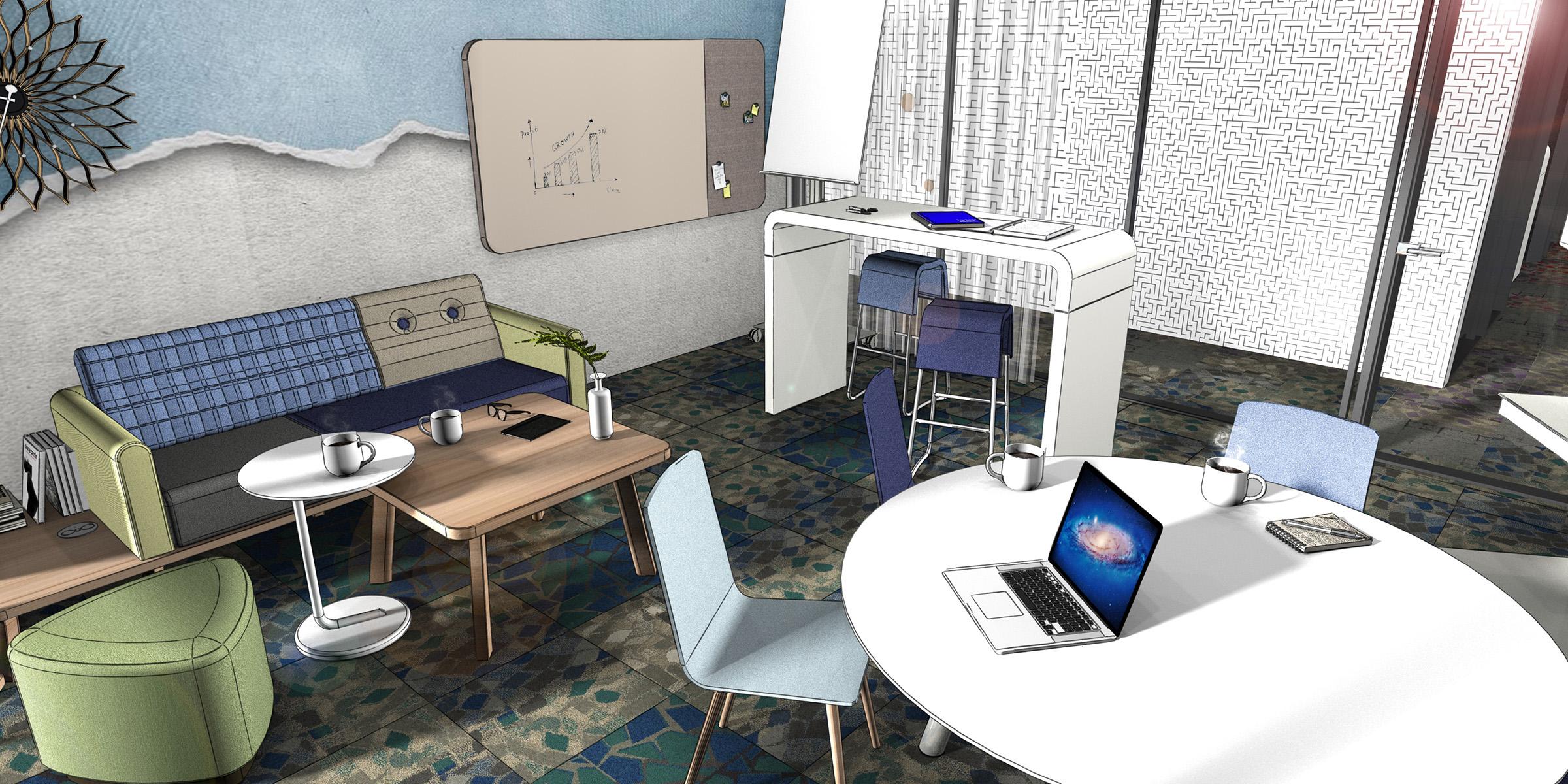 Teamraum, Besprechungsraum, in einem Büro, neue Arbeitwelten, Inenanrchitektur 3D Rendering