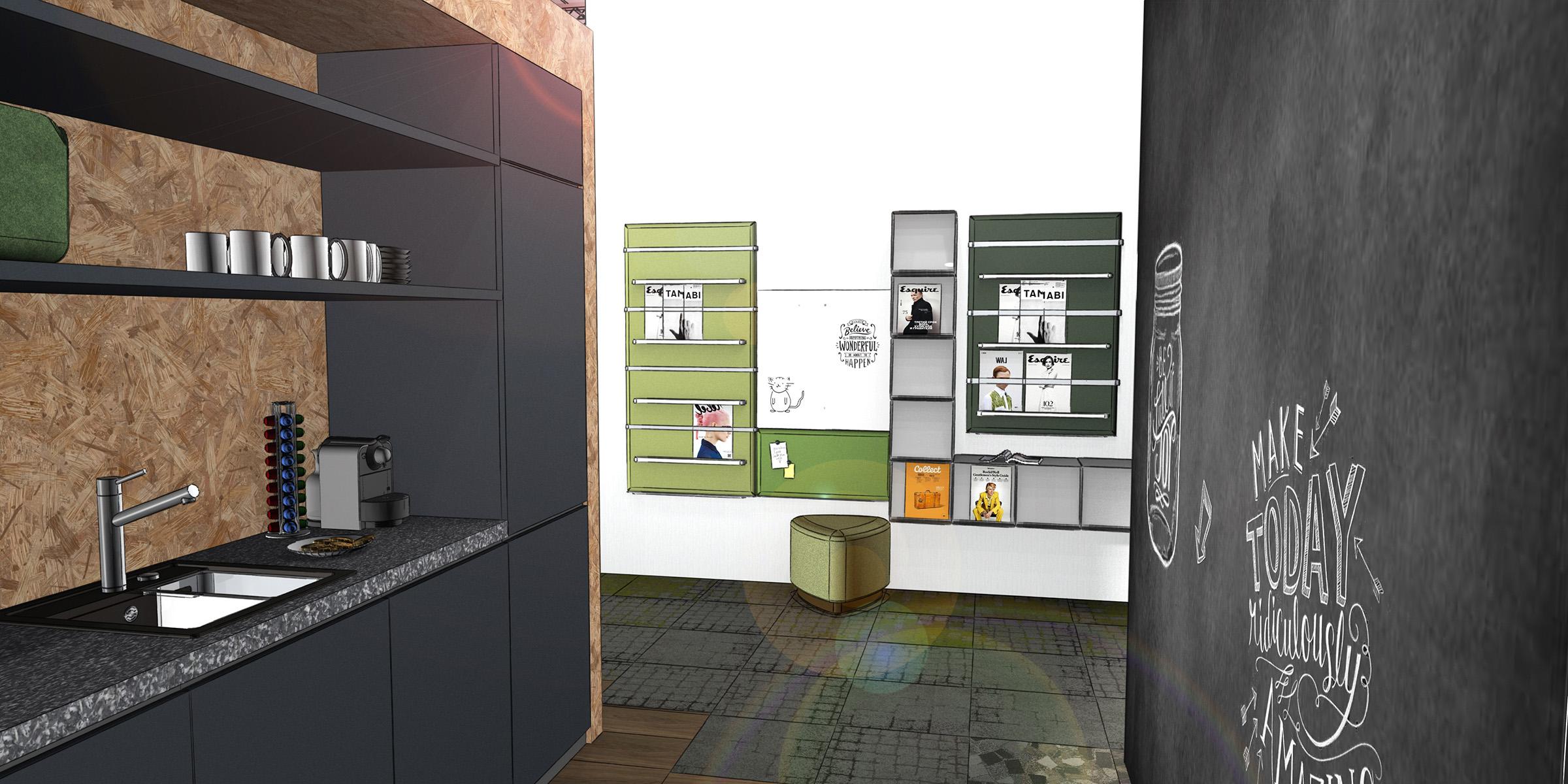 Teeküche und Bibiliothek in einem Büro, neue Arbeitwelten, Inenanrchitektur 3D Rendering