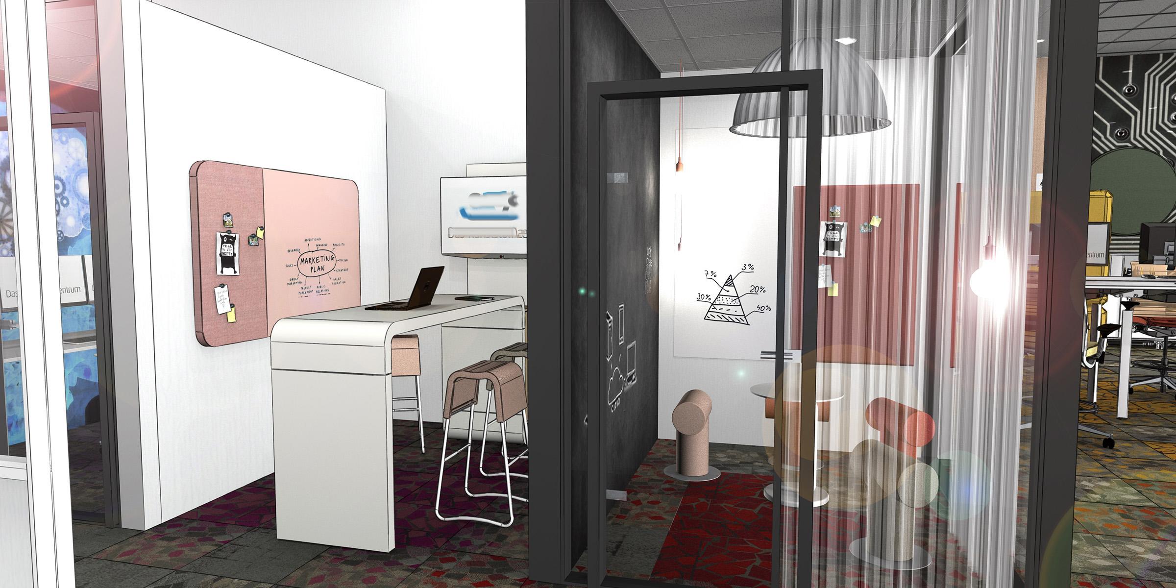 Thinktank, Besprechungsraum, Teamraum für temporäre Arbeit in einem Büro, neue Arbeitwelten, Inenanrchitektur 3D Rendering