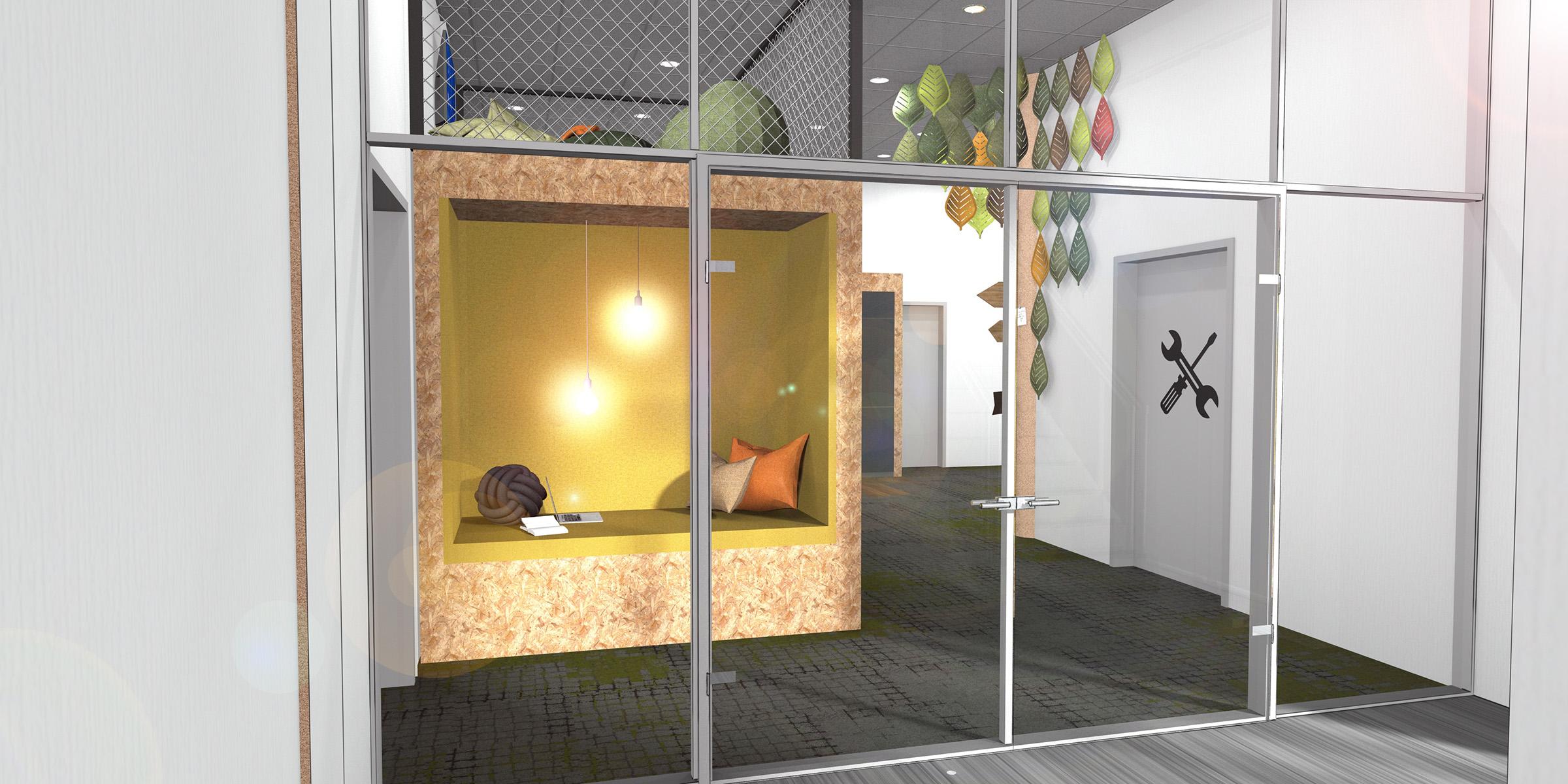 Einbau mit Lounge, Besprechung, Technik Nische und Gamerroom in einem Büro, neue Arbeitwelten, Inenanrchitektur 3D Rendering